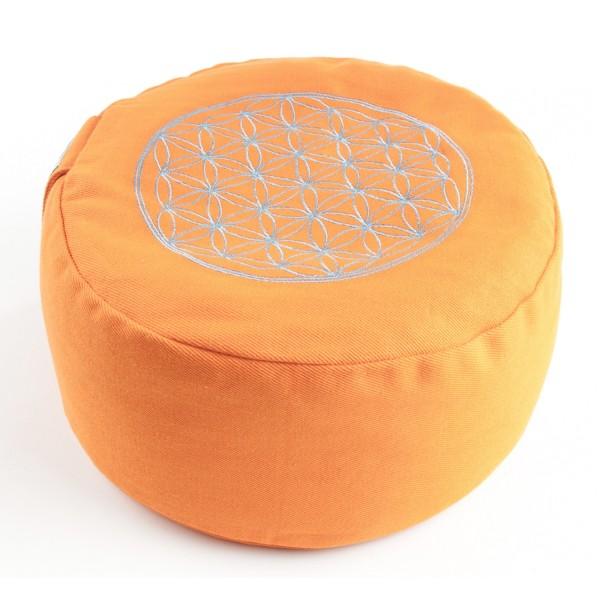 Meditionskissen Blume des Lebens orange