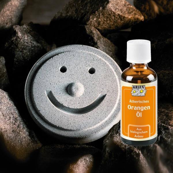 Sauna Smiley + ätherisches Orangenöl Set