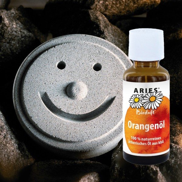 Set Sauna Smiley + ätherisches Orangenöl 30ml