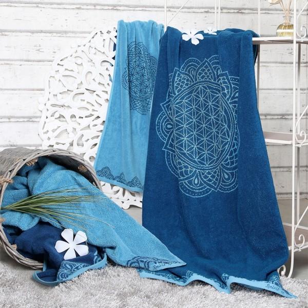 Großes Badetuch Blume des Lebens blau / azur mit Edelsteinen