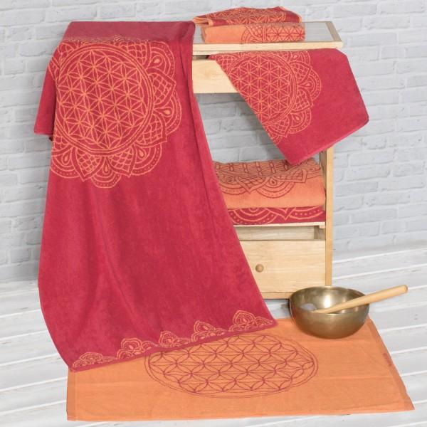 Handtuch Blume des Lebens 48 × 109 cm rubinrot/koralle